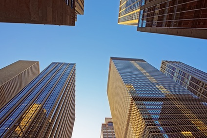 Bottom up view of skyscrapers in New York